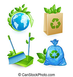 Ecology and waste icons set of trash recycling conservation...