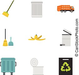 Ecology and waste icons set, flat style