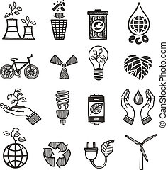 Ecology and waste icons set of plants garbage recycling ...
