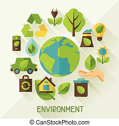 Ecology background with environment icons.