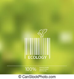 Ecology  barcode symbol on blurry background vector design.
