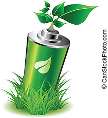 Ecology battery with leaves