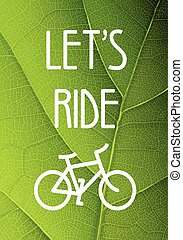 Ecology bicycle poster illustration.