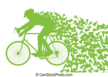 Ecology bike driving vector background concept