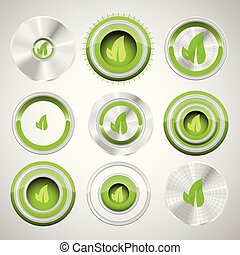 Ecology buttons, vector