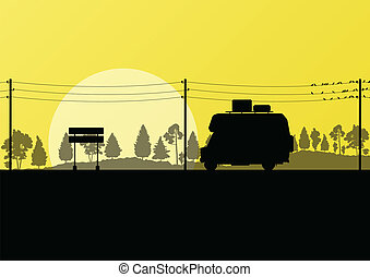 Ecology camping trailer green vector background card concept