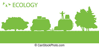 Ecology camping trailer green vector background card concept...