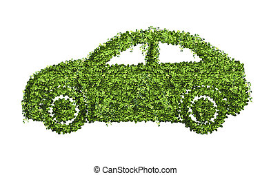 Ecology car design concept from many green leaf.