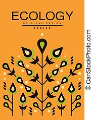 Ecology card, ecological template with flowers for poster, banner, flyer, invitation, brochure vector illustration