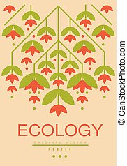 Ecology card, ecological template with flowers for poster, banner, flyer, invitation, brochure vector illustration, healthy lifestyle concept