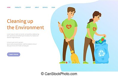 Ecology Care, Man and Woman Cleaning Up Vector