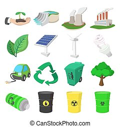 Ecology cartoon icons set