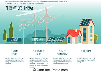 Ecology city. Alternative energy. Solar, wind power. Web page concept