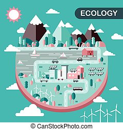 ecology city scenery concept in flat design