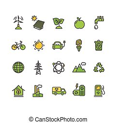 Ecology Colorful Outline Icon Set. Vector