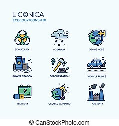 Ecology - coloured modern single line icons set - Ecology -...