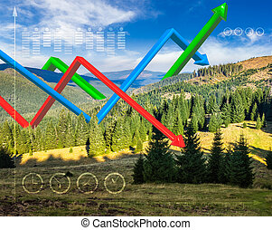 ecology concept 3D graphs over mountain forest - concept...