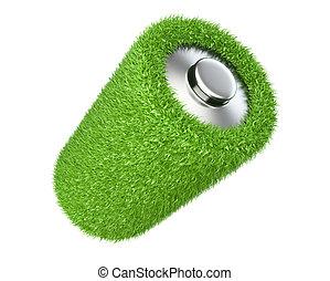 Ecology concept a net energy. Battery from grass
