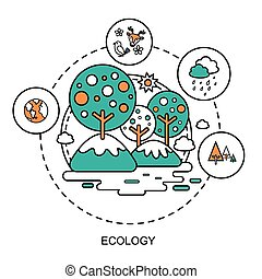 ecology concept: beautiful environment in flat line style