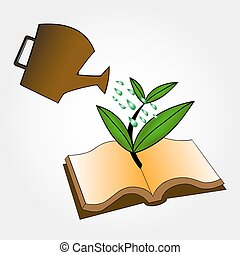 Ecology concept. Books and watering pot