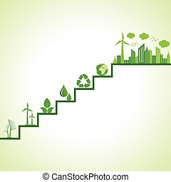 eco cityscape and icons on stairs