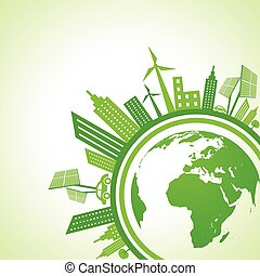 eco cityscape with earth