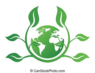 Ecology concept icon with earth and leaves. Recycle logo. Vector illustration for any design.
