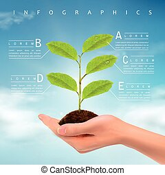 ecology concept infographic template design with realistic hand holding plant