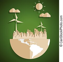 Ecology concept. Paper cut of globe and city on green background. Vector illustration.
