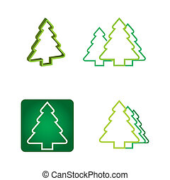 Ecology concept - pine tree icon - Ecology concept -...