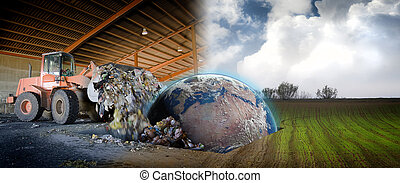 Ecology concept , planet earth in a scrap industrial site -...