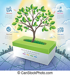 ecology concept template infographic with tree and tissue box