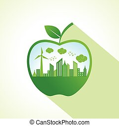 Ecology concept with apple