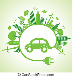 Ecology concept with eco car vector illustration