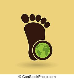 ecology concept with footprint