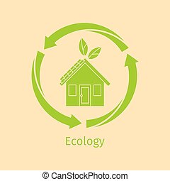 Ecology concept with green house