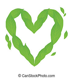 Ecology concept with heart of green leaves vector