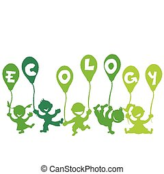 Ecology concept with kids and balloons