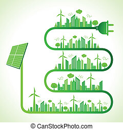 Ecology concept with solar panel - Illustration of ecology...
