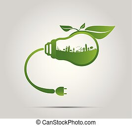 Ecology concept,the world is in the energy saving light bulb green,vector illustration