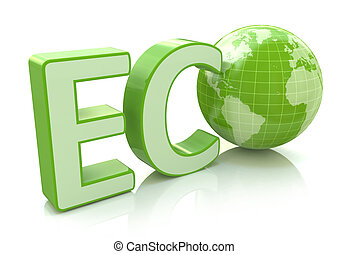 Ecology conservation, environment protection and nature saving business concept: 3D render illustration of green eco word with Earth globe map isolated on white background with reflection effect