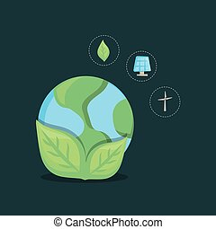 Ecology design concept - earth planet with leaves and...