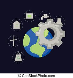 Ecology design concept - gear wheel with earth planet and...