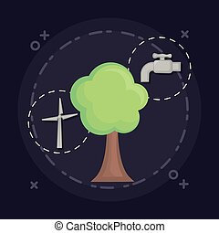 Ecology design concept - tree and ecology related icons...