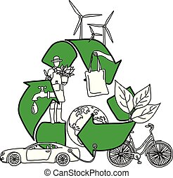 Ecology design concept with green recycle symbol vector illustration sketch doodle hand drawn with black lines isolated on white background