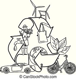 Ecology design concept with Recycle symbol vector illustration sketch doodle hand drawn with black lines isolated on white background