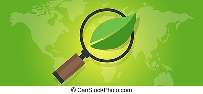 ecology eco friendly world map green leaf symbol environment