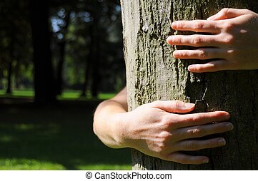 ecology eco or natore conservation concept with hand...