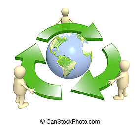 Ecology - Ecological symbol - Earth surrounded with green...