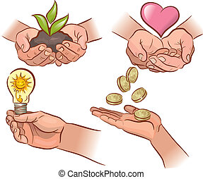 Ecology, economy, health. - A set symbols of the hands of...